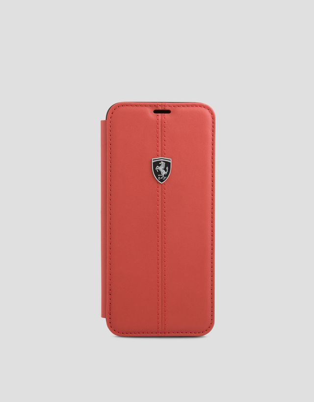 Scuderia Ferrari Online Store - Red leather bi-fold case for Galaxy 8 Plus - Cover&Other Small Leather Good