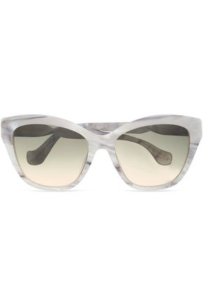 BALENCIAGA Cat-eye marbled acetate sunglasses