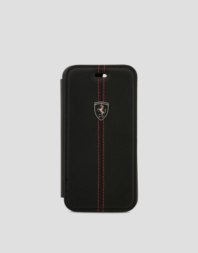 Scuderia Ferrari Online Store - Black leather bi-fold case for iPhone 8 - Cover&Other Small Leather Good