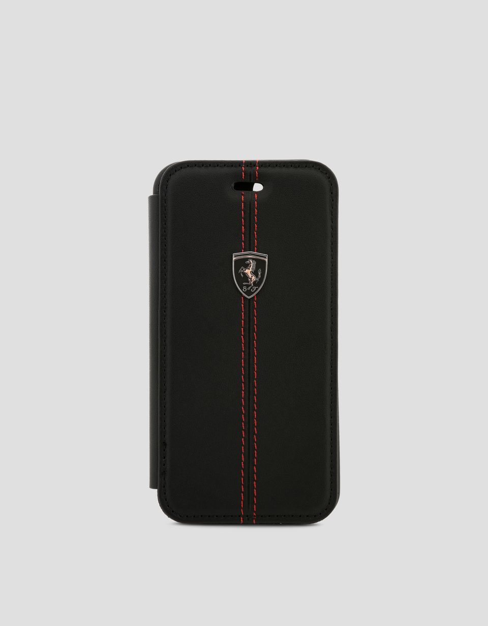 Scuderia Ferrari Online Store - Cover a libro in pelle nera per iPhone 8 - Cover&Other Small Leather Good