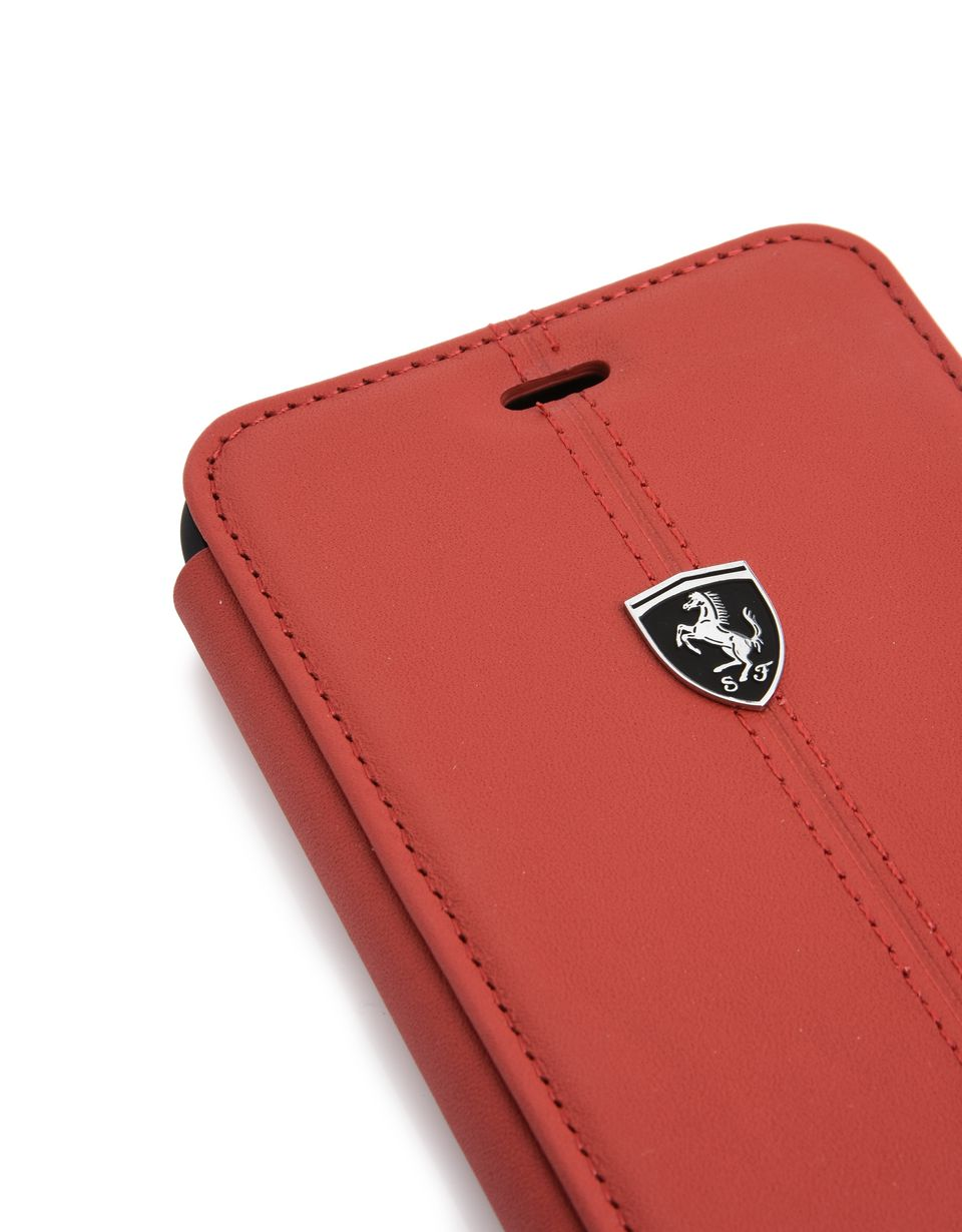 Scuderia Ferrari Online Store - Red leather bi-fold case for iPhone 7 Plus and iPhone 8 Plus - Cover&Other Small Leather Good
