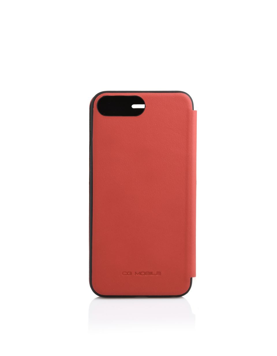 Scuderia Ferrari Online Store - iPhone 7 Plus 和 iPhone 8 Plus 红色皮革翻盖手机壳 - Cover&Other Small Leather Good
