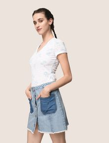 ARMANI EXCHANGE CONTRAST POCKET BUTTON-FRONT SKIRT Denim Skirt Woman a