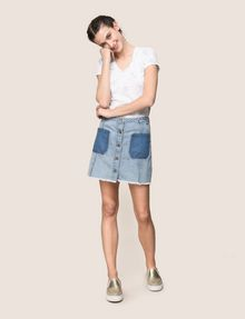 ARMANI EXCHANGE CONTRAST POCKET BUTTON-FRONT SKIRT Denim Skirt Woman d