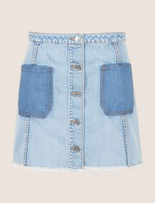 ARMANI EXCHANGE CONTRAST POCKET BUTTON-FRONT SKIRT Denim Skirt Woman r