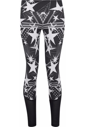 BODYISM Mesh-paneled printed stretch leggings