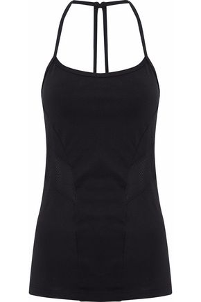BODYISM Mesh and printed stretch-jersey top