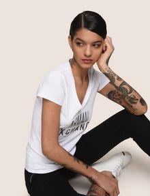 ARMANI EXCHANGE SEQUIN STITCH LOGO TEE Logo T-shirt Woman a