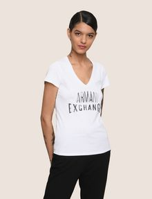 ARMANI EXCHANGE SEQUIN STITCH LOGO TEE Logo T-shirt Woman f