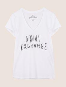 ARMANI EXCHANGE SEQUIN STITCH LOGO TEE Logo T-shirt Woman r