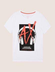 ARMANI EXCHANGE HEADPHONE LOGO GRAPHIC TEE Logo T-shirt Man r