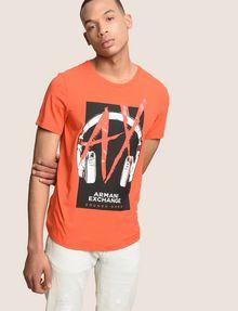 ARMANI EXCHANGE HEADPHONE LOGO GRAPHIC TEE Logo T-shirt Man a