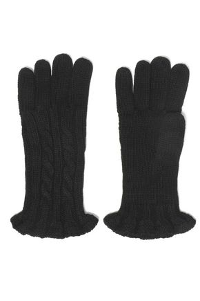 Ruffle Trimmed Cable Knit Gloves by Autumn Cashmere