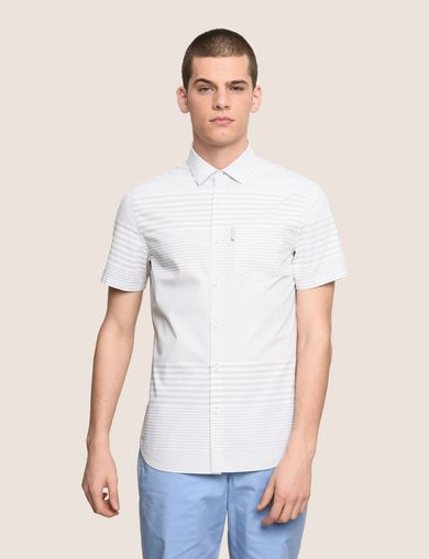 SHORT-SLEEVE VARIEGATED STRIPE REGULAR-FIT SHIRT