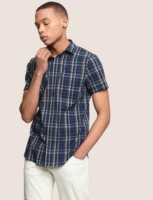 ARMANI EXCHANGE SLIM-FIT STRETCH PLAID SHIRT Short sleeve shirt Man a