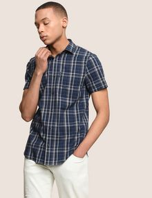 ARMANI EXCHANGE SLIM-FIT STRETCH PLAID SHIRT Short sleeve shirt [*** pickupInStoreShippingNotGuaranteed_info ***] a