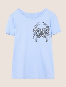 ARMANI EXCHANGE SUNBLEACHED CRAB TEE Logo T-shirt Woman r