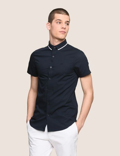 SLIM-FIT TIPPED COLLAR SHIRT