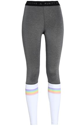 PURITY ACTIVE Paneled striped stretch leggings