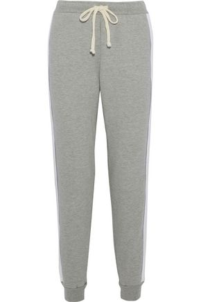 CLU Open knit-paneled French cotton-terry track pants