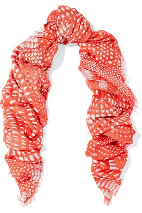 ROBERTO CAVALLI Frayed printed modal-gauze scarf