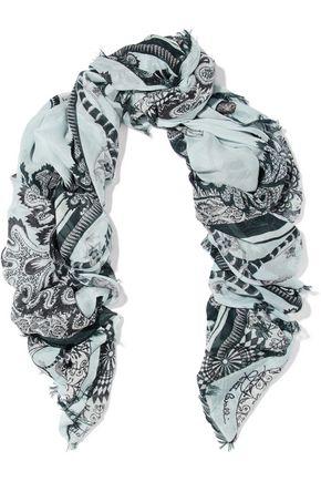 ROBERTO CAVALLI Unica frayed printed gauze scarf