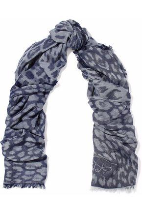ROBERTO CAVALLI Metallic frayed jacquard scarf