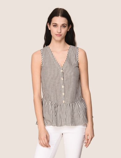 BUTTON-FRONT STRIPED PEPLUM TOP