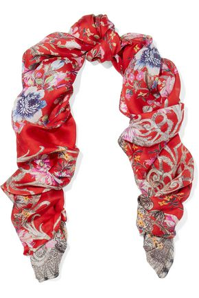 ROBERTO CAVALLI Unica printed silk-twill scarf