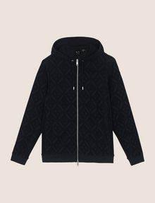 ARMANI EXCHANGE DIAMOND LOGO ZIP-UP TERRY HOODIE Fleece Jacket [*** pickupInStoreShippingNotGuaranteed_info ***] r