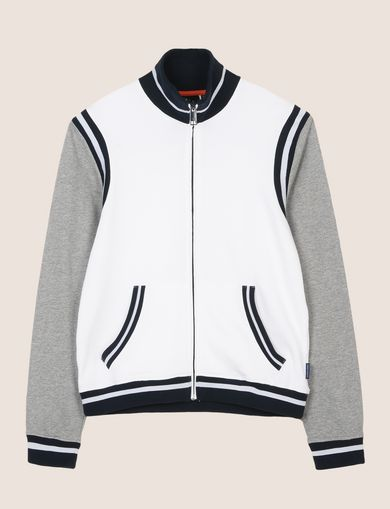 FUNNELNECK STRIPED VARSITY JACKET