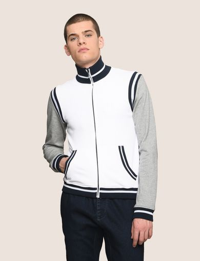 ARMANI EXCHANGE FUNNELNECK STRIPED VARSITY JACKET Man front