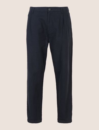 LINEN BLEND PLEAT-FRONT PANT
