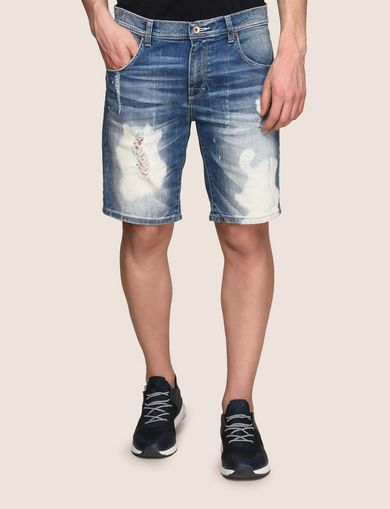 BLEACHED AND DESTROYED INDIGO SHORT
