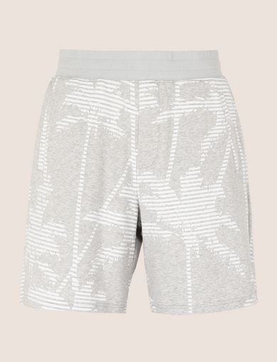 STRIPED PALMS SWEAT SHORT