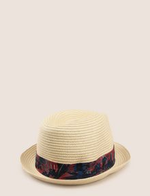 ARMANI EXCHANGE TROPICAL FLORAL GROSGRAIN PANAMA HAT Hat Man r