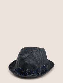 ARMANI EXCHANGE TROPICAL FLORAL GROSGRAIN PANAMA HAT Hat Man f