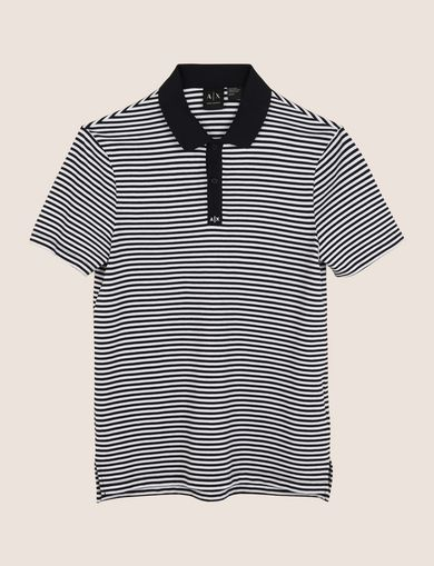 CONTRAST COLLAR STRIPED POLO