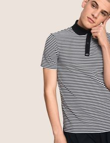 ARMANI EXCHANGE CONTRAST COLLAR STRIPED POLO SHORT SLEEVES POLO Man a