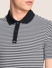 ARMANI EXCHANGE CONTRAST COLLAR STRIPED POLO SHORT SLEEVES POLO Man b