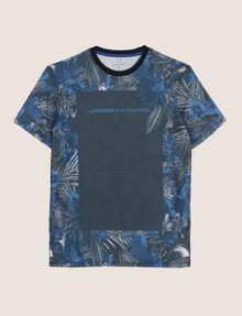 ARMANI EXCHANGE WHITEOUT TROPICAL FLORAL TEE Logo T-shirt Man r