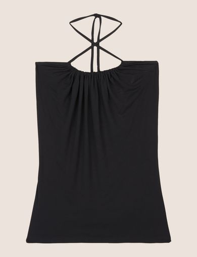 GATHERED-FRONT HALTER TOP