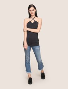 ARMANI EXCHANGE GATHERED-FRONT HALTER TOP S/S Knit Top [*** pickupInStoreShipping_info ***] d