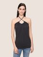 ARMANI EXCHANGE GATHERED-FRONT HALTER TOP S/S Knit Top Woman f