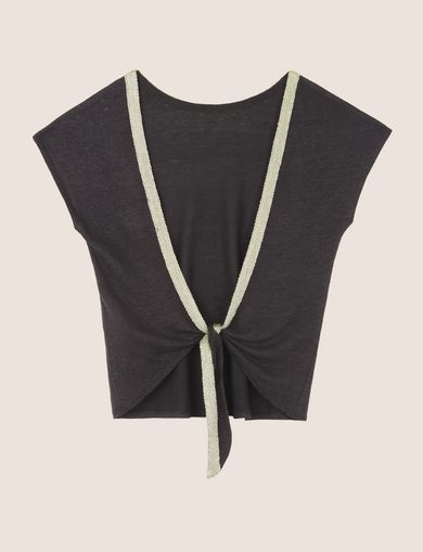 METALLIC TRIM TIE-BACK TOP