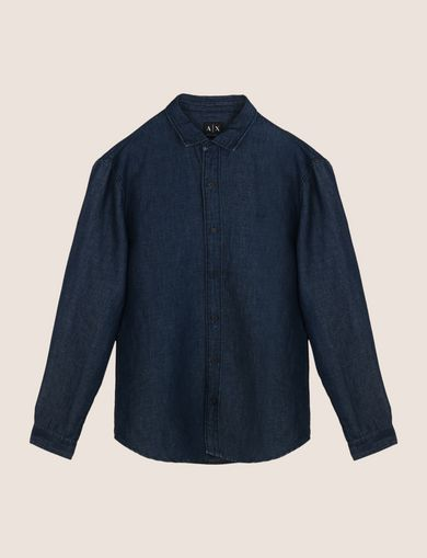 BICOLOR LINEN BLEND REGULAR-FIT SHIRT