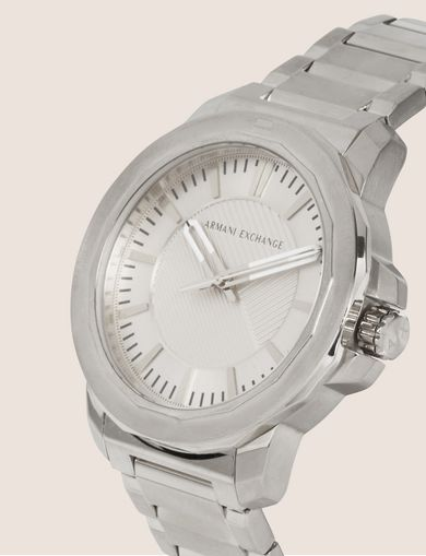 FACETED SILVER-TONED BRACELET WATCH