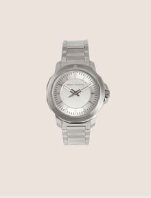 ARMANI EXCHANGE FACETED SILVER-TONED BRACELET WATCH Watch Man f