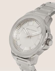 ARMANI EXCHANGE FACETED SILVER-TONED BRACELET WATCH Watch Man r