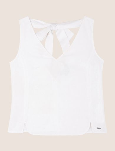 SHIMMER LINEN TIE-BACK TOP